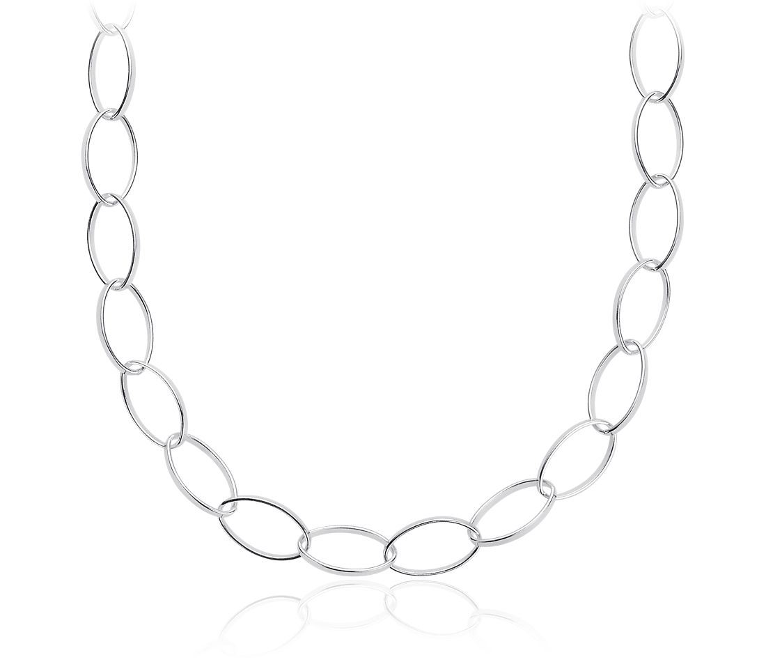"Long Linked Necklace in Sterling Silver (30"")"