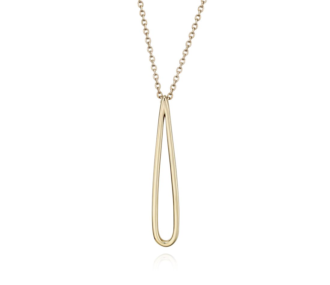 "Long Open Teardrop Pendant in 14k Yellow Gold (28"")"