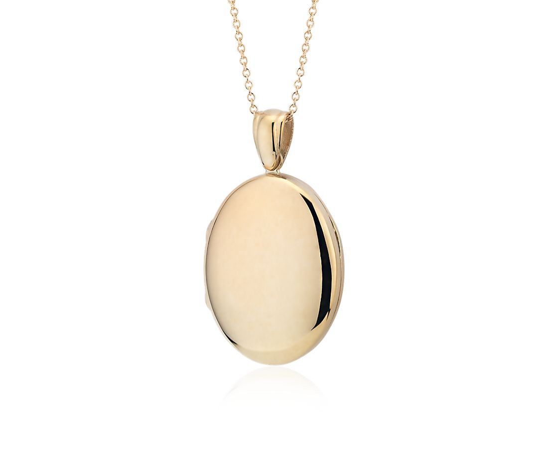Long Oval Locket Necklace in 14k Yellow Gold - 30""