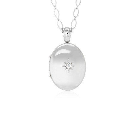 "Long Oval Locket with Diamond Accent in Sterling Silver (30"")"
