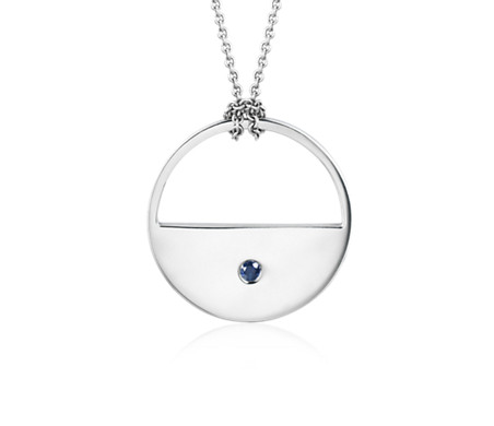 "Long Sapphire Open Moon Pendant in Sterling Silver (28"")"