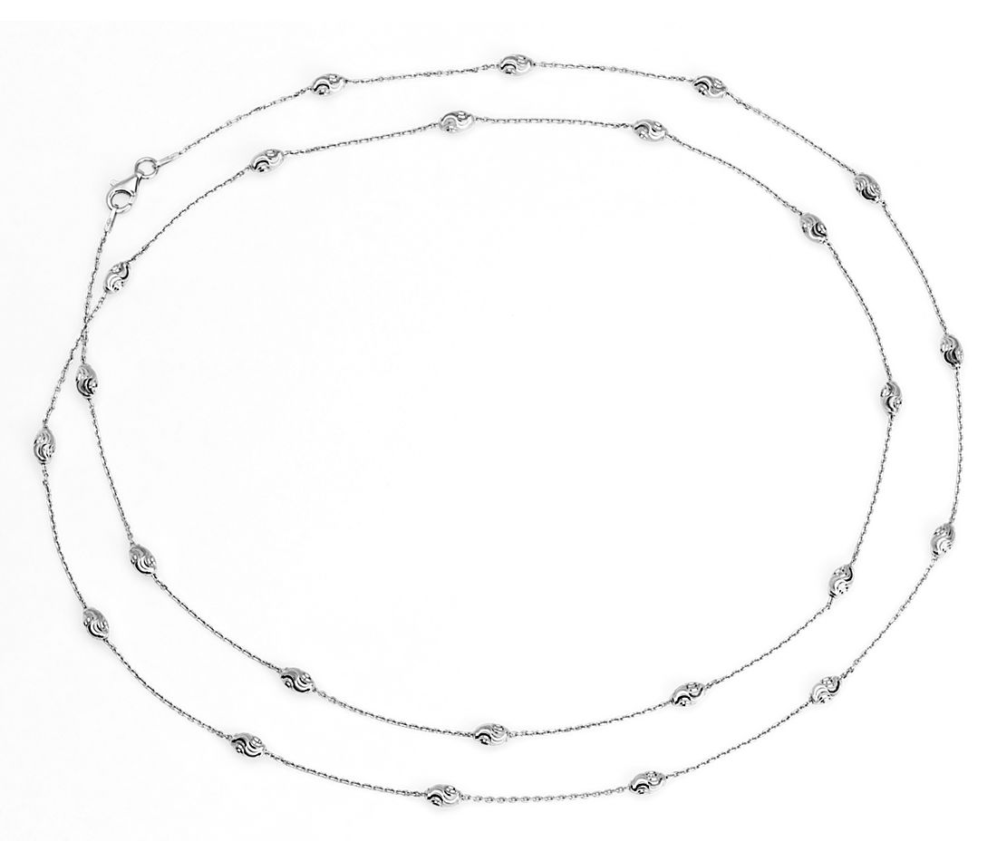 "Long Moon Cut Shimmer Necklace in Sterling Silver (36"")"