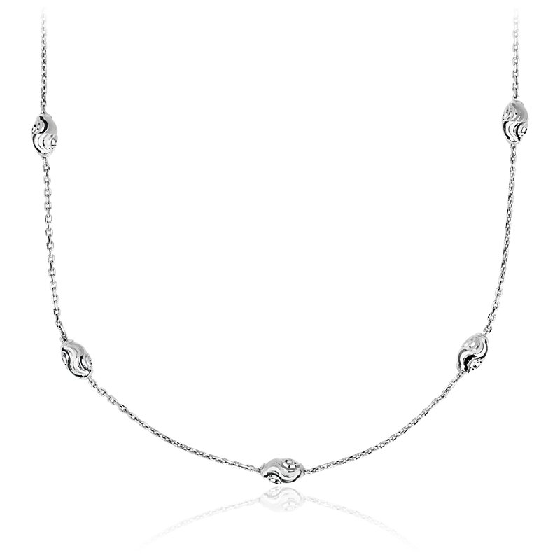 "Long Moon Cut Shimmer Necklace in Italian Sterling Silver (36"")"