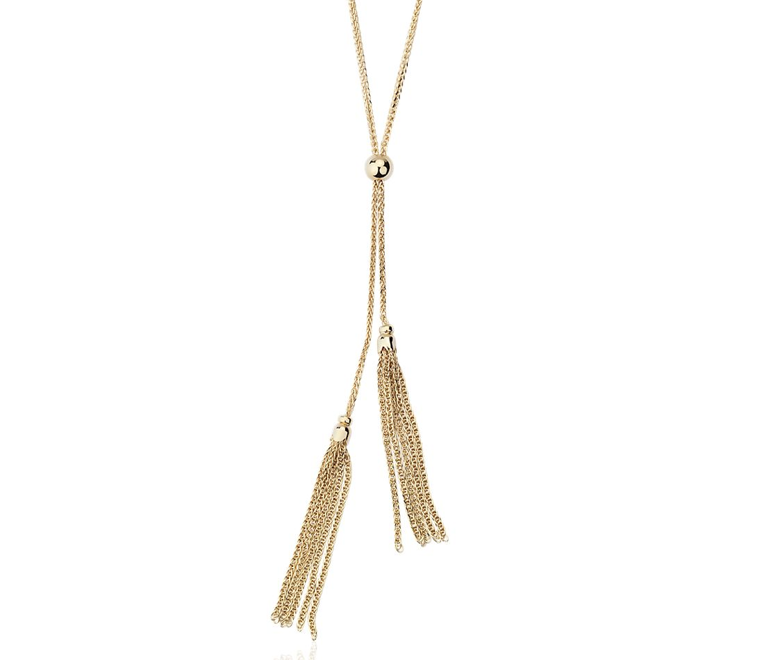 Long Tassel Lariat Necklace in 14k Yellow Gold