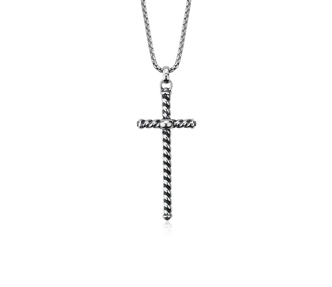 "Long Twisted Cross Pendant in Sterling Silver (32"")"