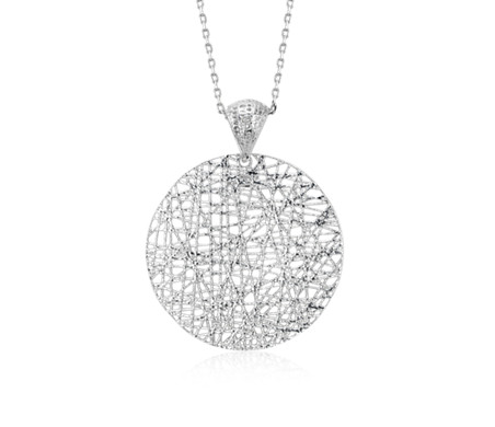 "Delicate Long Woven Disc Pendant in Sterling Silver (30"")"