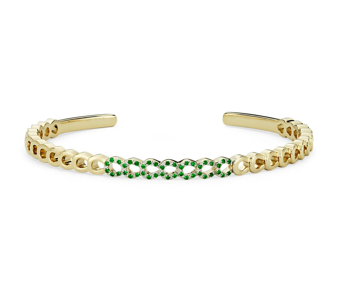 Loop Cuff Bracelet with Tsavorite Detail in 14k Yellow Gold (1mm)