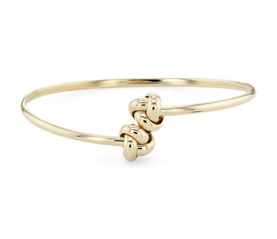 Duo Love Knot Bangle in 14k Yellow Gold