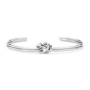 Bracelet manchette nœud Love en argent sterling