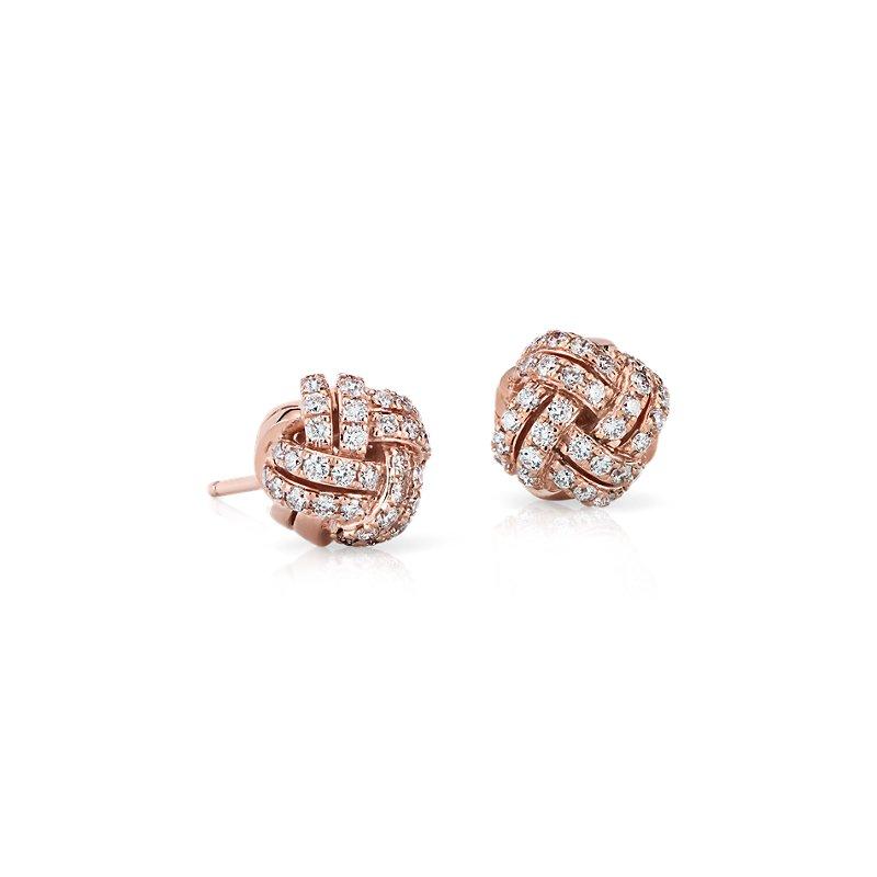 Love Knot Diamond Stud Earrings in 14k Rose Gold (5/8 ct. tw.)