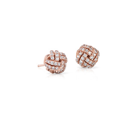 Love Knot Diamond Stud Earrings in 14k Rose Gold (3/5 ct. tw.)