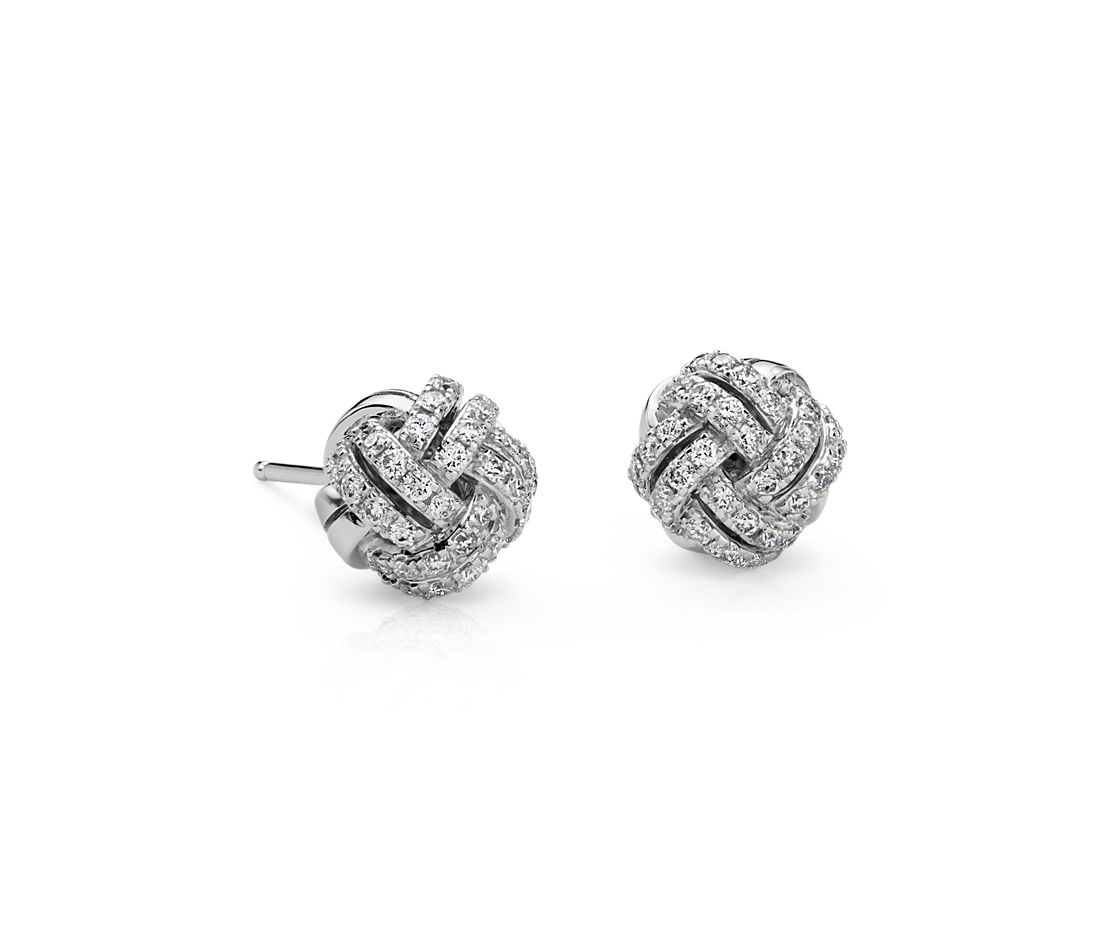 Love Knot Diamond Stud Earrings in 14k White Gold (3/5 ct. tw.)