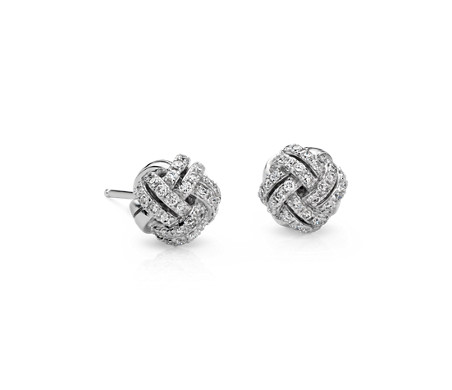diamond rose tw gold ct earrings v in knot p stud t love w