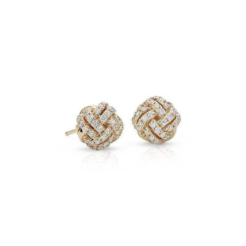 Love Knot Diamond Stud Earrings in 14k Yellow Gold (3/5 ct. tw.)