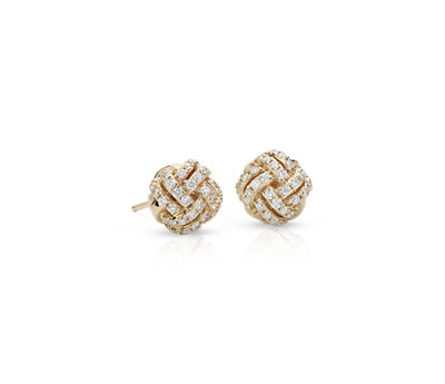 Love Knot Diamond Earrings in 14k Yellow Gold