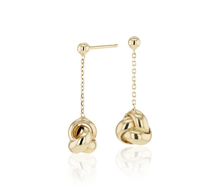 Love Knot Drop Earrings in 14k Italian Yellow Gold