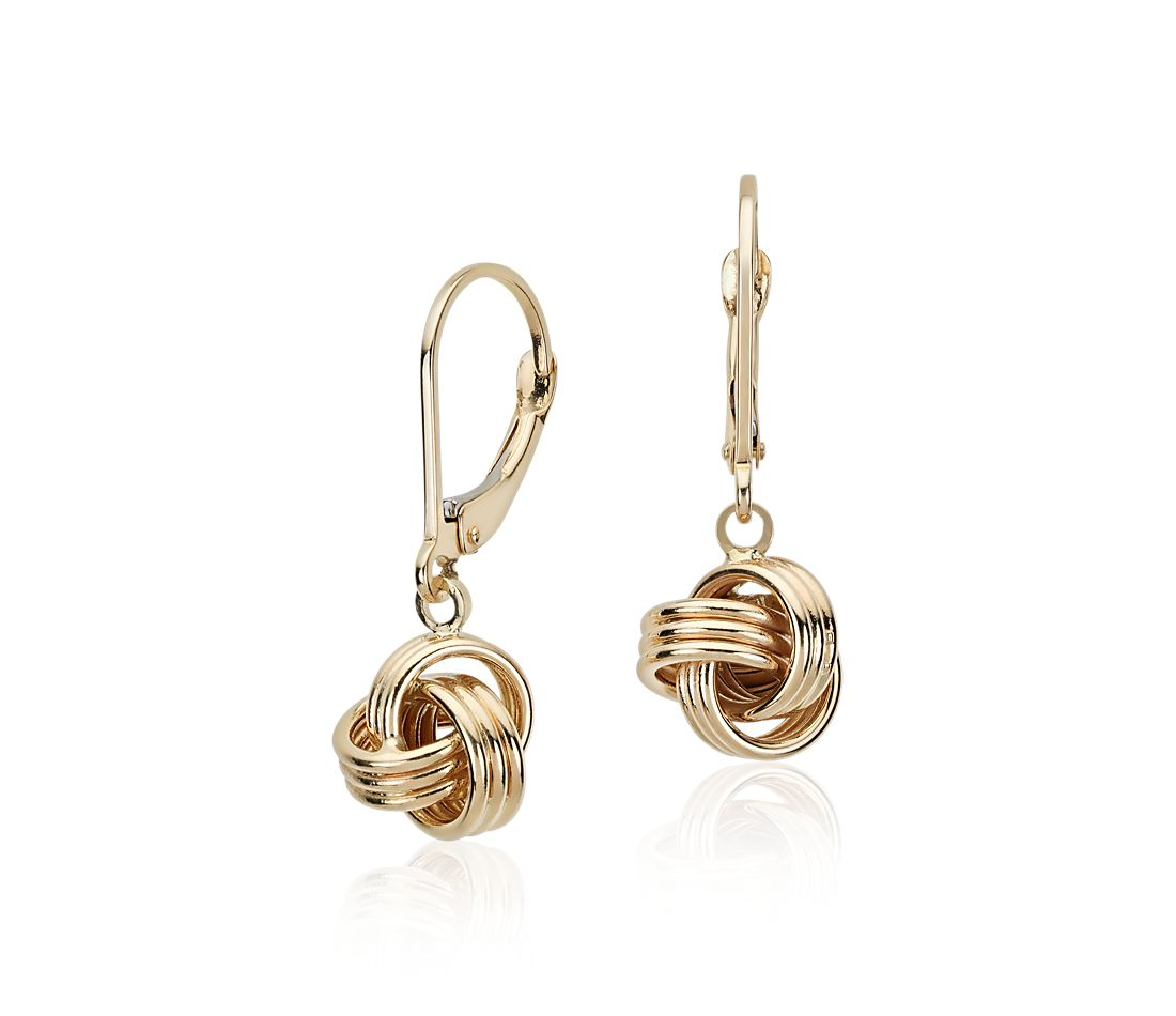 Love Knot Drop Earrings In 14k Yellow Gold