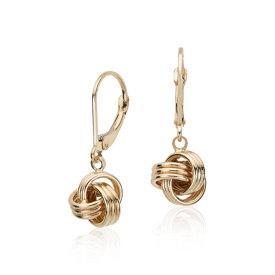 Pendants d'oreilles nœud d'amour en or jaune 14carats