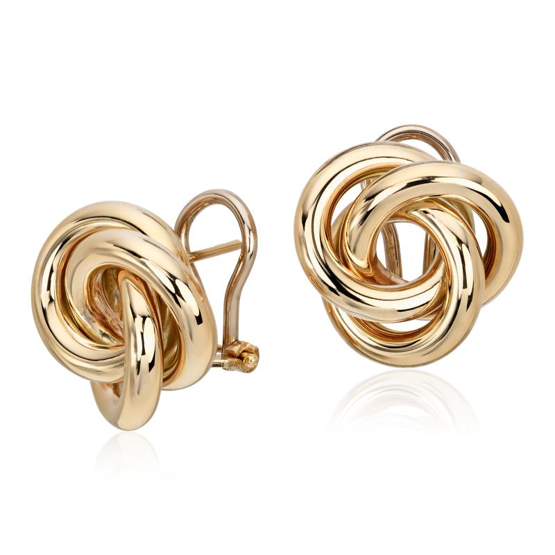 Oversized Love Knot Stud Earring in 14k Italian Yellow Gold