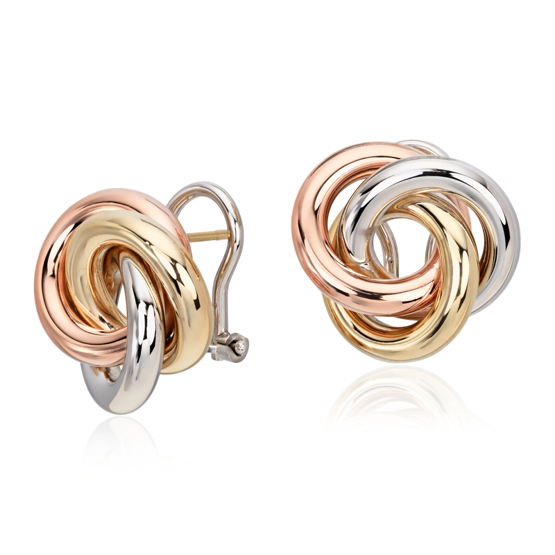 Oversized Love Knot Stud Earring in 14k Tri-Color Italian Gold