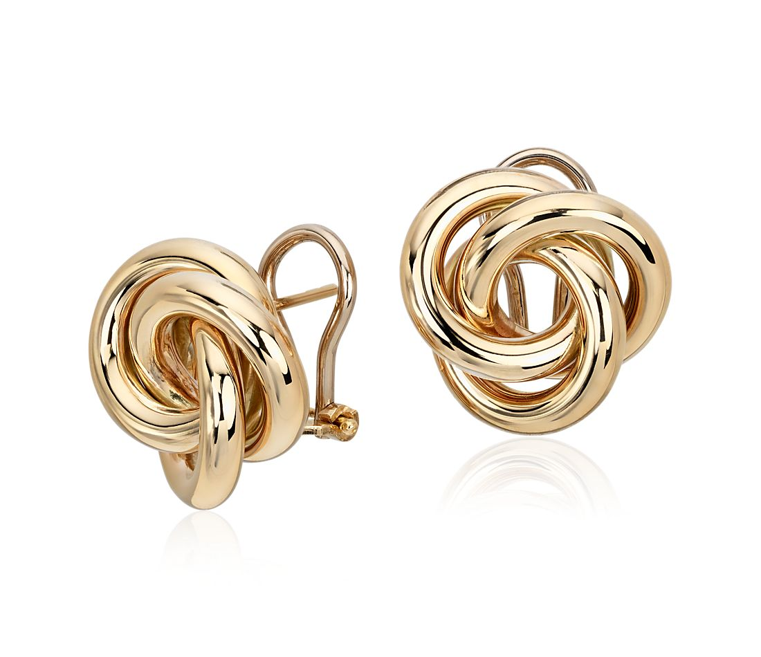 Oversized Love Knot Stud Earring In 14k Italian Yellow Gold