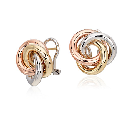 Blue Nile Trio Love Knot Earrings in 14k Tri-Color Italian Gold