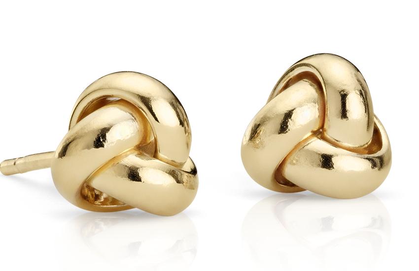 Petites puces d'oreilles à nœud d'amour en or jaune 14carats (7mm)