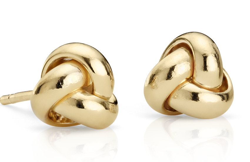 Petite Trio Love Knot Stud Earrings in 14k Yellow Gold (7mm)