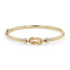 Love Knot Bangle in 14k White and Yellow Gold