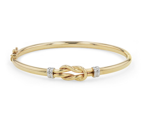 Love Knot Bangle in 14k Italian White and Yellow Gold