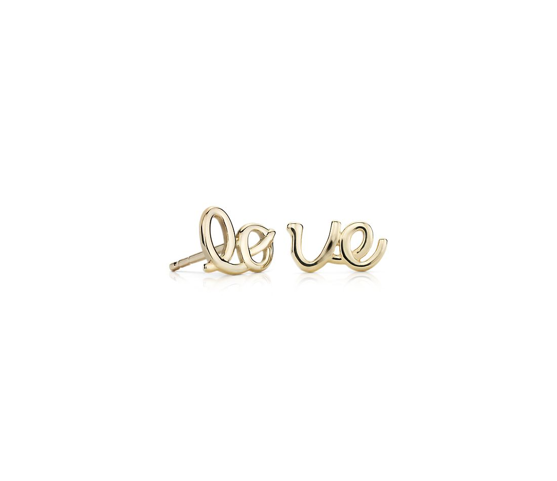 LOVE Mismatched Stud Earrings in 14k Yellow Gold