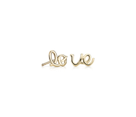 14k 黃金 「LOVE」不成對釘款耳環
