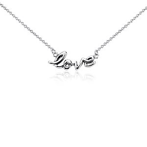 """Love"" Necklace in Sterling Silver"