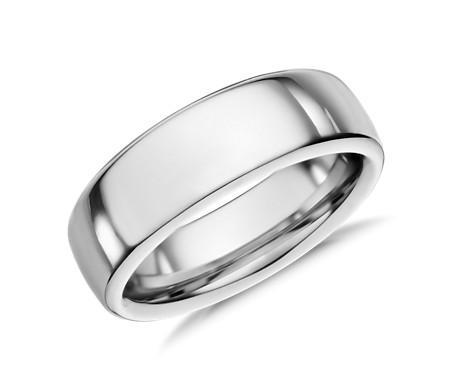 鈷 低圓頂內圈卜身設計結婚戒指<br>( 6.5毫米)