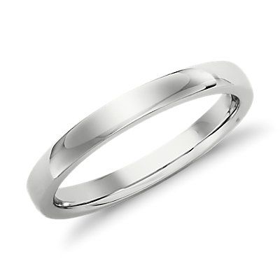 Alliance confort dôme bas en or blanc 14 carats (2,5 mm)