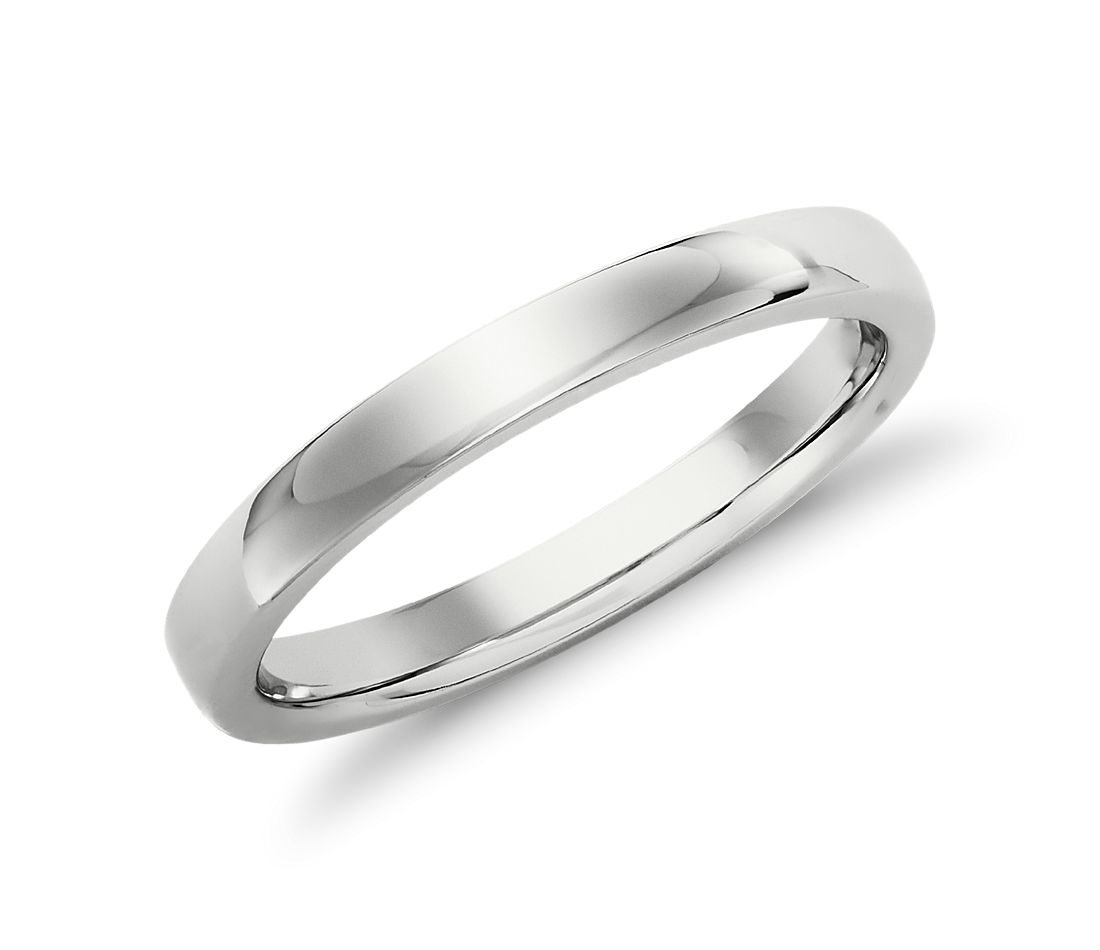 Low Dome Comfort-Fit Wedding Ring in 14k White Gold (2.5 mm)