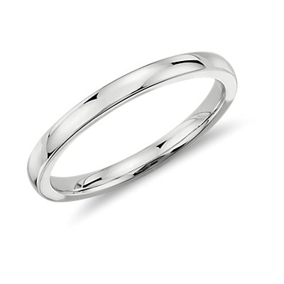 Low Dome Comfort Fit Wedding Ring in 14k White Gold (2mm)