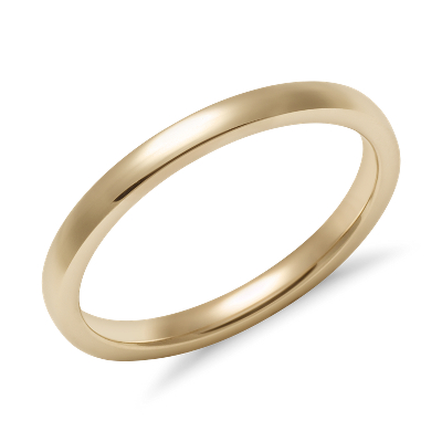 Low Dome Comfort Fit Wedding Ring in 14k Yellow Gold 2mm Blue Nile