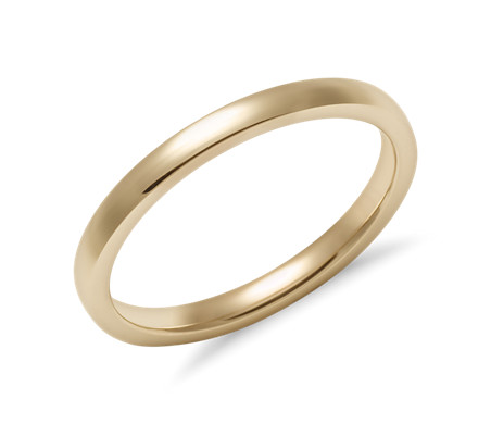 Low Dome Comfort Fit Wedding Ring in 14k Yellow Gold (2mm)