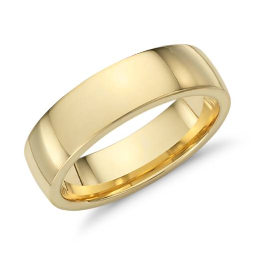 Low Dome Comfort Fit Wedding Ring In 18k Yellow Gold 6mm