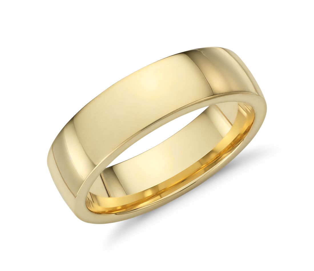 Low Dome Comfort Fit Wedding Ring in 18k Yellow Gold (6mm)  13f90cf7611b