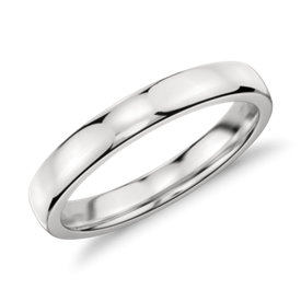 Low Dome Comfort Fit Wedding Ring in Platinum (3mm)