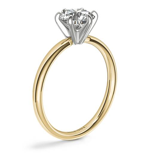 Six -Claw Low Dome Comfort Fit Solitaire Engagement Ring