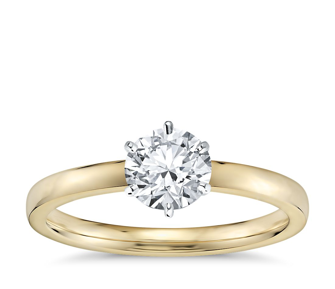 399c20606c12a Six -Prong Low Dome Comfort Fit Solitaire Engagement Ring in 18k Yellow Gold  (2mm)