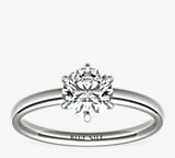 Six-Claw Low Dome Comfort Fit Solitaire Engagement Ring