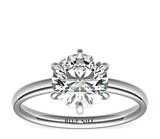 Six-Prong Low Dome Comfort Fit Solitaire Engagement Ring in Platinum (2mm)