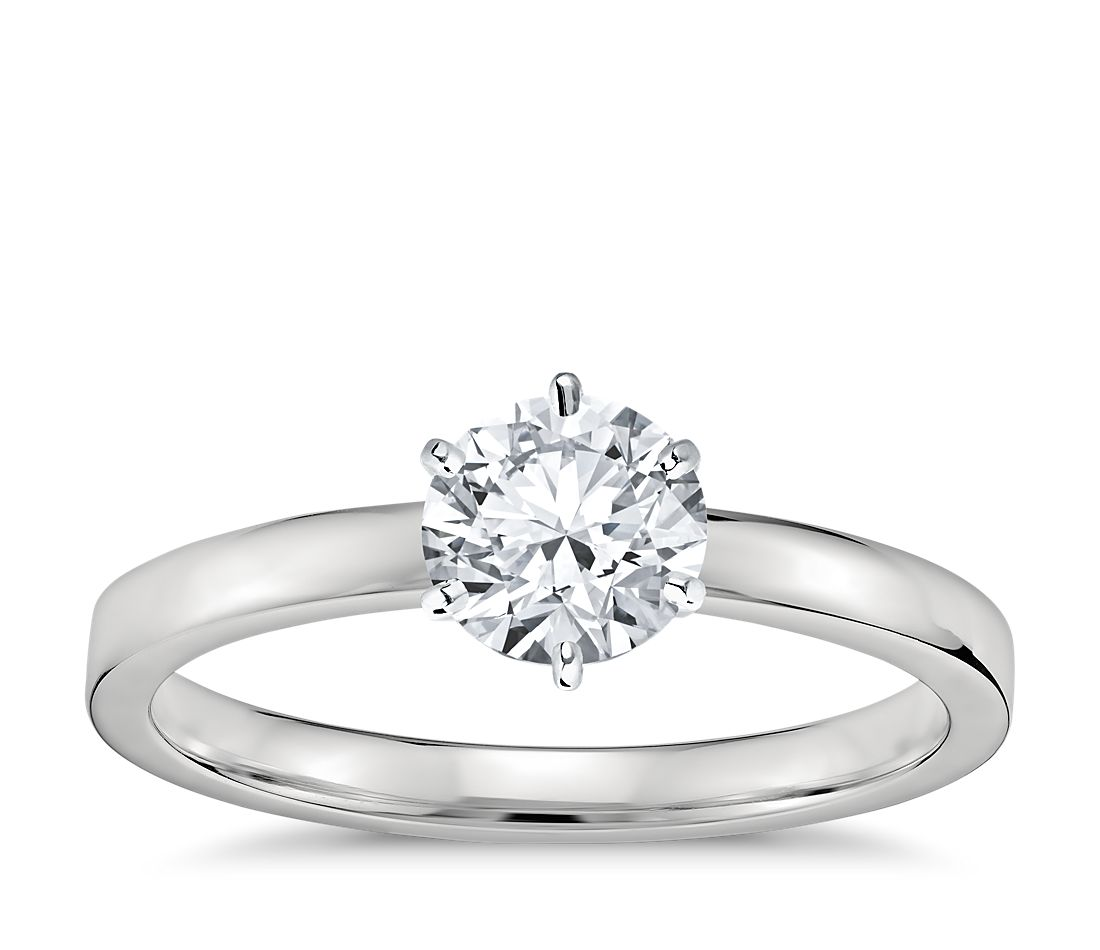 six prong low dome comfort fit solitaire engagement ring in platinum 2mm - Wedding Ring Setting