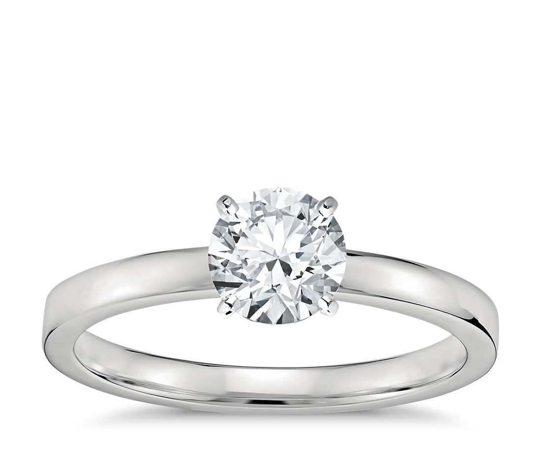 Low Dome Comfort Fit Solitaire Engagement Ring in Platinum (2mm)