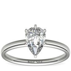 铂金六爪低圆拱内圈卜身设计单石订婚戒指(2毫米)