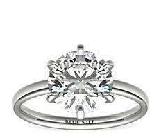 鉑金低圓拱內圈卜身設計訂婚戒指(2毫米)